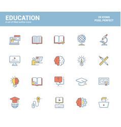 flat line filled icons design-education vector image