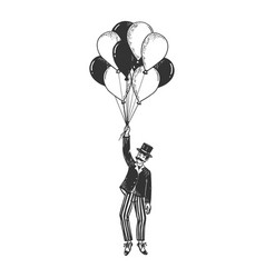 gentleman fly on air balloons sketch engraving vector image