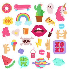 0141bb715 Girl fashion symbols stickers patches cute vector ...
