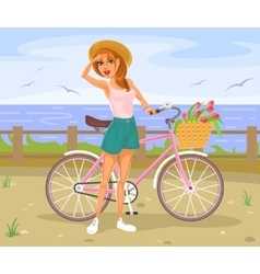 Girl standing next to a bicycle vector image