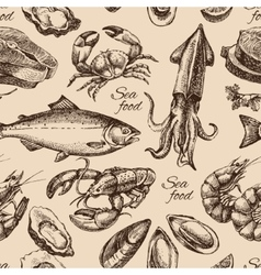 Hand drawn sketch seafood seamless pattern vector image