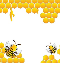 Happy bees frame background vector image
