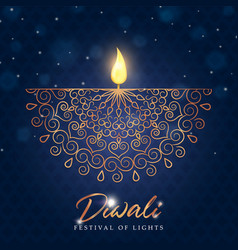 Happy diwali festival card gold indian diya candle vector