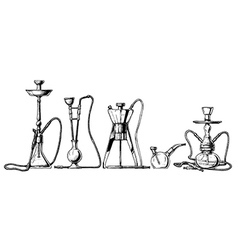 Hookah set on white background vector image