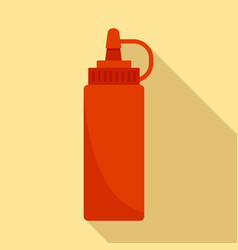 Hot dog ketchup bottle icon flat style vector