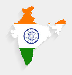 India flag map on gray background vector