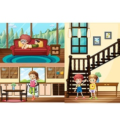 Kids in different rooms of the house vector