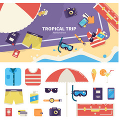 Kit for tropical trip on sand vector