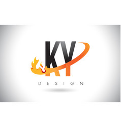 ky k y letter logo with fire flames design and vector image