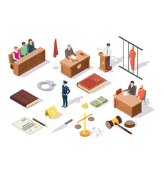 Law and justice isometric icon set vector