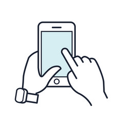 line smartphone icon mobile phone in hand vector image