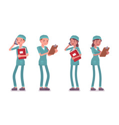Male and female nurse standing vector