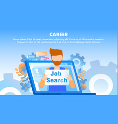 Male employee job search sign computer screen vector