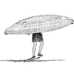 Man carries kayak in water vector