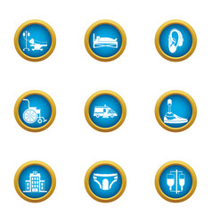 Medical furtherance icons set flat style vector