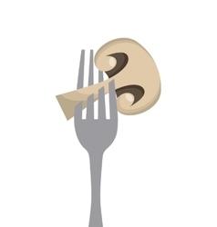 Mushroom in a fork vector