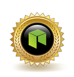 neo cryptocurrency coin gold badge vector image