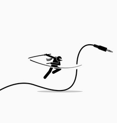 Ninja cuts audio cable away artwork depicts vector