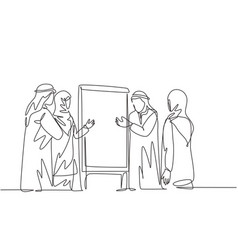 one continuous line drawing young muslim vector image