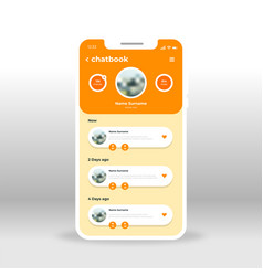 orange yellow chat book ui ux gui screen for vector image
