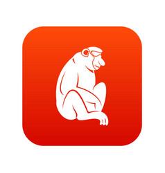Orangutan icon digital red vector