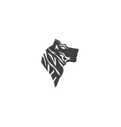 pattern head black lines tiger silhouette vector image