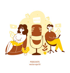 people listening to podcasts online flat yellow vector image
