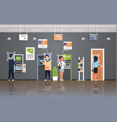 People withdrawing money atm cash machine vector