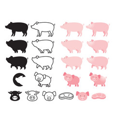 pig character set vector image