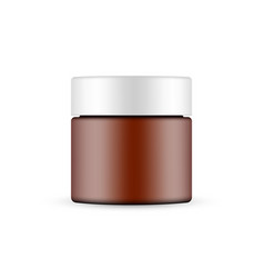 Plastic frosted amber cosmetic jar mockup vector