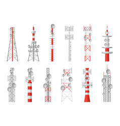 radio towers telecom masts broadcast equipment vector image