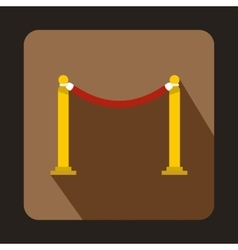 Red barrier rope icon flat style vector image