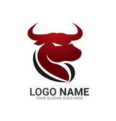 Red bull silhouette head bull logo design vector