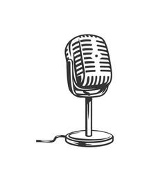 retro microphone outline icon vector image