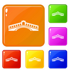 Rialto bridge icons set color vector