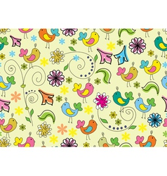 Seamless background with cute birds vector