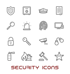 Security and protection thin line style icons vector
