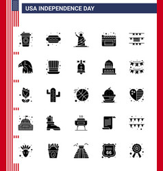 Set 25 modern solid glyph pack on usa vector