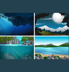 set nature with water landscape vector image