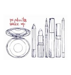 Set of decorative cosmetics powder lipstick vector