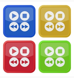 set of four square icons - music control buttons vector image