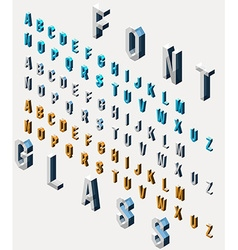 Set of isometric glass font vector image