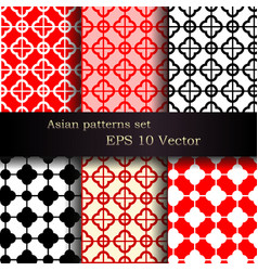 Set of seamless asian patterns vector