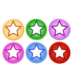 Set of Shiny Circle Labels with Star vector image