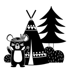 Silhouette bear animal with camp next to bush and vector