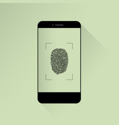 smartphone with fingerprint scanner icon isolated vector image