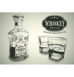 Stemware and bottle with whiskey vector image vector image
