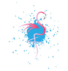 stylish flat design flamingo icon splatter vector image