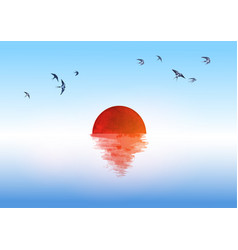 sunrise sun reflecting in water and small swallow vector image