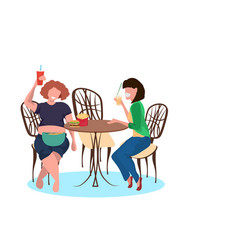 Thin and fat women drinking juice and eating fast vector